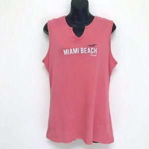 Surf Style XXL Miami Beach Florida Coral Tank Top